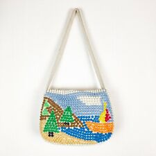 Handmade Plastic Beaded Purse Target Vintage 1960's Hong Kong Mountain Trees