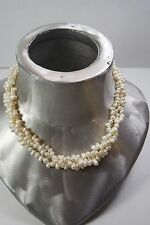 VINTAGE  3 STRAND NATURAL WHITE PEARL BEAD  NECKLACE