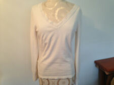 ANN TAYLOR Ivory Cotton Blend Womens Lightweight Long Sleeve Sweater Size S