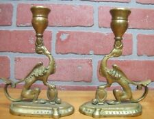 Old Pair Brass Serpent Griffin Beast Monster Figural Chambersticks Candlesticks
