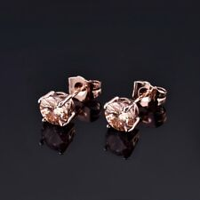 Women Round Yellow Citrine CZ Crystal Rose Gold Filled Small Stud Earrings 7MM
