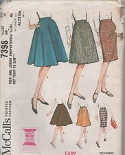 McCalls7398 Teen/Junior Vintage Skirts 3 Styles Size 28T