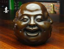 collection Tibet old bronze life 4 emotions four faces of Buddha head statue 8c