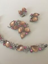 Vintage Lisner Moonshine Pink  Lucite Thermoset Set Bracelet Earrings Brooch