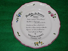 ASSIETTE MENU BUFFETS DE FRANCE CONGRES 1981 VALENCIENNES FAIENCE  ST AMAND 1713