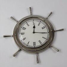 """18"""" Nickel Ship Wheel Wall Clock"""