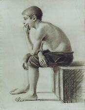 """""""L'ENFANT QUI PENSE"""" Dessin au crayon noir Atelier J. A. PERROUD vers 1890"""