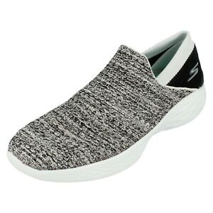 Ladies YOU By Skechers White/Black Slip On Trainers 14951