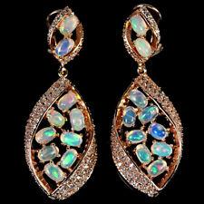 44x17mm. 925 Sterling Silber Ohrringe Roségold beschichtet Opal & Cubic Zirconia