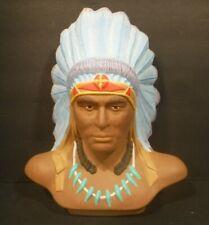 Beautiful Porcelain Bust Sculpture Native American Indian Chief Full Head Dress