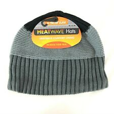 Seirus Heatwave Beanie Hat Knit Ribbed Striped Black Gray Unisex One Size