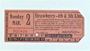 Philadelphia Rapid Transit Co. Strawberry Trolley Streetcar Transfer Ticket