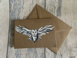 Owl Greetings Card Hand painted Card Handmade Card