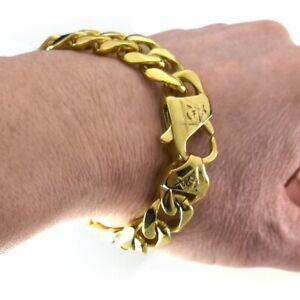 Freemasonry Masonic mens polished  Stainless Steel Vacuum coating Gold Bracelet
