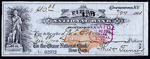 Bank Check Set of 2, RN-X7, Chase National Cooperstown, NY Consecutive #s - 1901