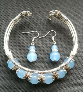 Tibetan Silver Bangle Light Blue Jade Stone Woman Bracelet Earring Set