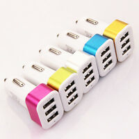 3| Chargeur voiture-USB 3 ports-allume cigare-pour Iphone Ipad Samsung