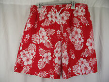 BNWT Mens Sz X Large Very Smart Red/White Elastic Waist Swim Board Shorts