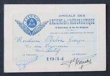 Carte de membre Georges BELIX 1934 AMICALE DES ANCIENS DE L'AERONAUTIQUE Caudron