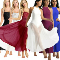 Womens Sleeveless Dance Dress Liturgical Praise Ballroom Mesh Maxi Skirt Gown