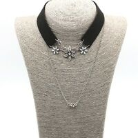 Womens Leather Collar Chain Choker Necklace Gothic Crystal Pendant Punk