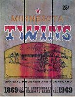 1969 baseball program Minnesota Twins v Chicago White Sox, UNSCORED, GOOD