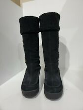 Steve Madden Womens Black Suede Wedge Boots Size 8 M