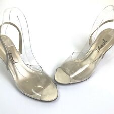 Vintage Jack Rogers Usa Sling Back Clear Acrylic Lucite Heels Size 9 M