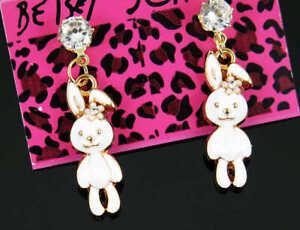 New betsey johnson Enamel white crystal rabbit ear studs earrings christmas gift