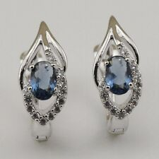 Gorgeous Blue Sapphire Fashion Jewelry Gift Gold Filled Huggie Earrings er1133