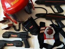 Huge lot of vintage laser tag items, 4 laser guns, 1 vest, helmet, 3 targets