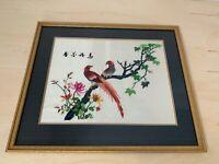 Asian Silk Art | BIRDS FLOWERS | Needlepoint | Embroidery | Stitched Wall Art 2