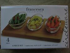 Circleware Francesca Four Piece Set 3 Glass Olive Pickel Bowls & Bamboo Tray