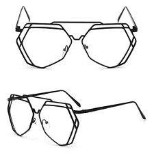 Women Men Glasses Eyeglass Metal Hollow Frame Spectacles Clear Lens Eyewear