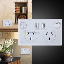 Dual USB Australian Power Point Home Wall Power Supply AU Plug Socket Switch Kit