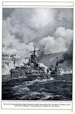 Bei den Dardanellenkämpfen beschädigtes Panzerschiff wird nach  Lemos gebracht