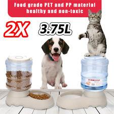 2pcs Automatic Pet Feeder Dispenser Waterer Dog Cat Self Feeding Food Water Bowl