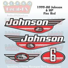 1999-00 Johnson 6 HP Fire Red Outboard Reproduction 4Pc Marine Vinyl Decals