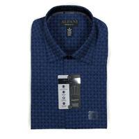 Alfani Mens Dress Shirt Athletic Fit Stretch Blue Print Sz 15-15.5 x 34/35