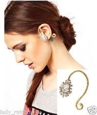 Fashion Punk Rhinestone Drop Flower Golden Earring Left Ear Ear Clip 1PC Simple