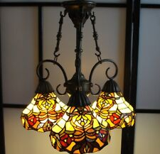 "3-ARM Tiffany Style Chandelier Hanging Light Fixture Stained Glass ""VERY NICE!!"""