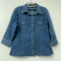 Eddie Bauer Women's Metal Button Down Blue Chambray Denim Shirt Size Large