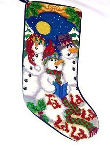 "Finished Handmade Wool Needlepoint SNOWMAN FAMILY Christmas Stockings 20"" long"