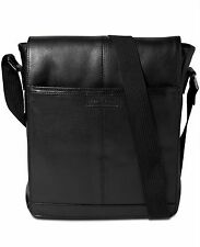 $545 Perry Ellis Mens BLACK MINI MESSENGER LEATHER WORK SCHOOL BRIEFCASE BAG
