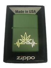Zippo Custom Lighter Stoner My Heart Beat Marijuana Weed Pot Leaf Design USA NEW