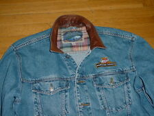 VTG Miller Genuine Draft Denim Jean Trucker Jacket Leather-Collar XL MGD Beer
