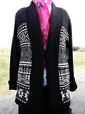 NEW $64 CHAUS Womens Sz M Thick Knit Cardigan- Chunky Knit Sweater Cotton Blend
