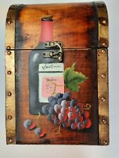 Retro Style Wooden Chest For 4 Bottles Of Wine Decorative Present Box