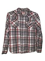 Levis Mens Size Small Pearl Snap Button Down Long Sleeve Red Plaid Shirt -TPB11P