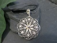 Silber Anhänger Jugendstil Art Deco Filigran Blüten Form Aufwendig Ornamental